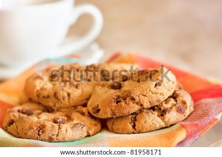 Homemade cookies with chocolate and coffee