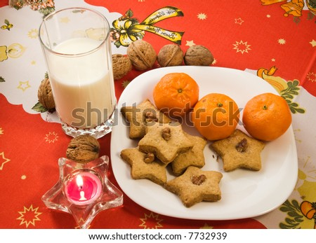 Homemade cookies with glass of milk left for Santa Claus