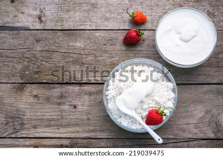 Homemade cottage cheese, selective focus