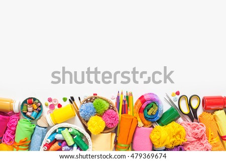 Homemade crafts. Materials for sewing, knitting, drawing. Colored materials for crafts. Women's interests.