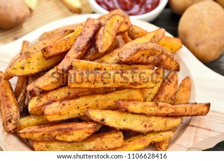 Homemade Crispy Seasoned French Fries.