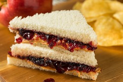 Homemade Crustless Peanut Butter and Jelly Sandwich with Chips