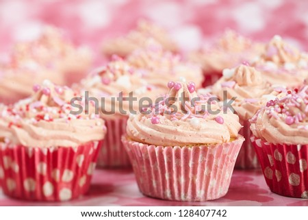 homemade Cupcakes with heart decoration