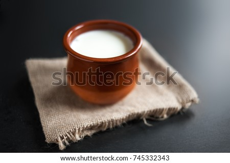 Homemade curd in clay pot made from cow milk. Sour  cream or natural  Cottage cheese.