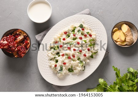 Homemade Curd Rice with pomegranate, cilantro, ginger on a grey background. Top view. Traditional Indian South cuisine Stok fotoğraf ©