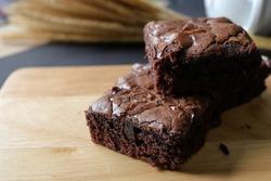 Homemade dark chocolate fudge brownies cake.