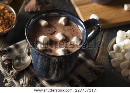 Homemade Dark Hot Chocolate with Marshmallows and Cinnamon