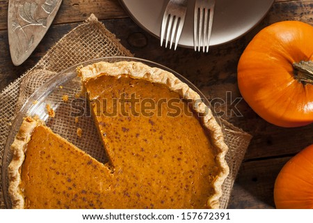 Homemade Delicious Pumpkin Pie made for Thanksgiving