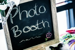 Homemade DIY photo booth chalkboard sign