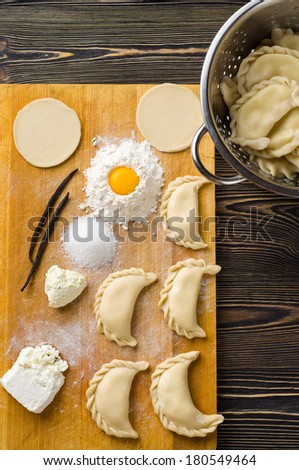 Homemade dumplings on a wooden table