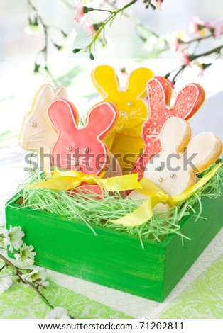 Homemade Easter bunny cookies in gift box