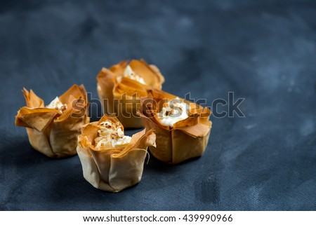 Homemade Filo Pastry Baskets with Mascarpone Cream, Dark Background, Space for text