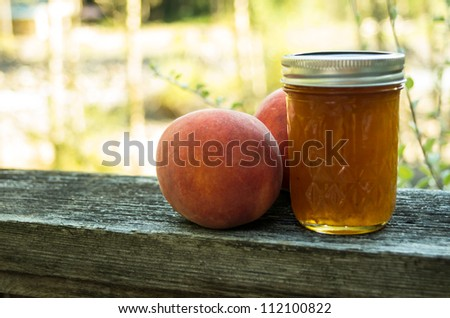 Homemade fresh peach jam or jelly with peaches