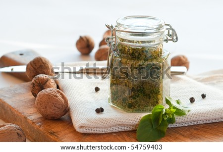 Homemade fresh pesto in jar