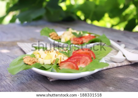 Homemade fresh summer salad with season vegetables (tomatoes, lettuce), cheese, walnuts and olive oil dressing for healthy lunch or picnic