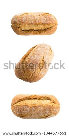 Homemade Freshly Baked Traditional Bread Isolated on White Background Top View. Whole Loaf of Rustic Organic Cereal Bread Made of Sourdough Dough #1344577661