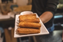 Homemade Fried Pork EggRolls with Dipping Sauces . fried Spring Roll , Vietnamese Food