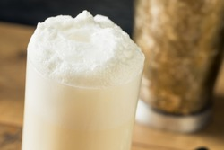 Homemade Frothy Ramos Gin Fizz Cocktail with Cream