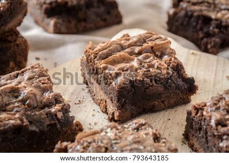 Homemade fudge chocolate brownies #793643185