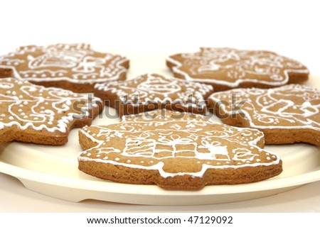 Homemade gingerbread christmas cookies stars and trees