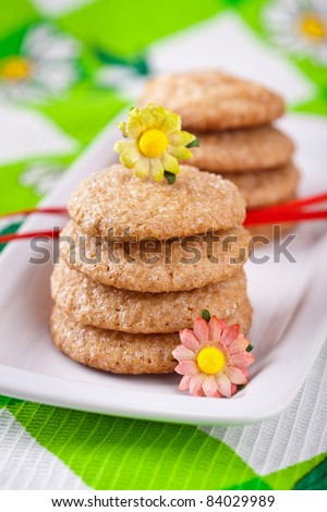 Homemade gingerbread cookies on white plate