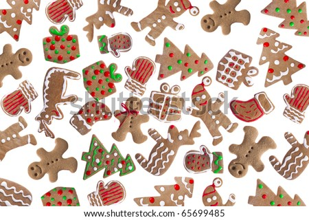 Homemade Gingerbread cookies with different shapes isolated on white background
