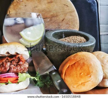 Homemade Gourmet Burger and Gin