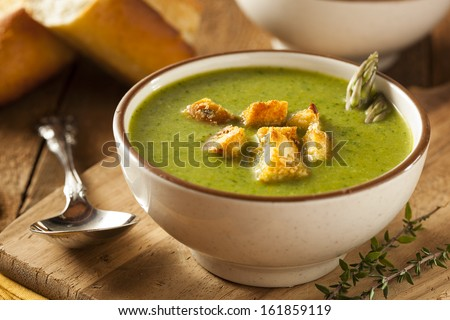 Homemade Green Asparagus Soup with Crunchy Croutons Stock photo ©