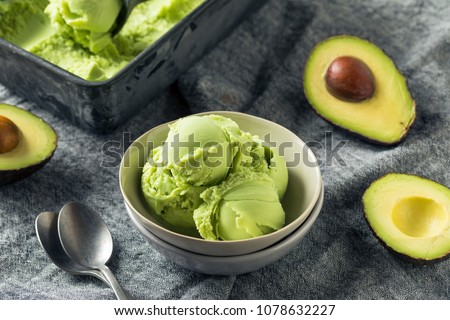 Homemade Green Organic Avocado Ice Cream Ready to Eat