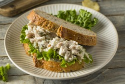 Homemade Healthy Chicken Salad Sandwich with Chips