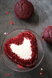 Homemade Heart shaped Red Velvet cake / Valentines day food, selective focus