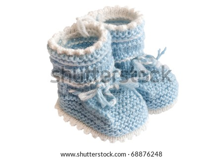 Homemade knitted baby blue booties. couple