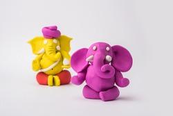 Homemade Lord Ganesha idol for Ganesh Chaturthi Festival using colourful clay or play dough