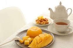 Homemade mango jelly served with Thai mango for gourmet dessert