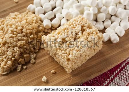 Homemade Marshmallow Crispy Rice Treat in bar form