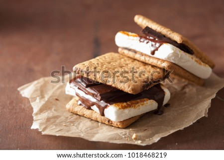 Photo of  homemade marshmallow s'mores with chocolate on crackers