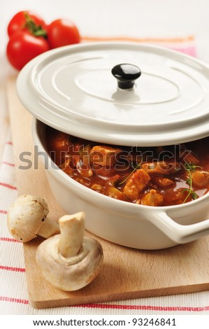 homemade meat and vegetable stew - stock photo
