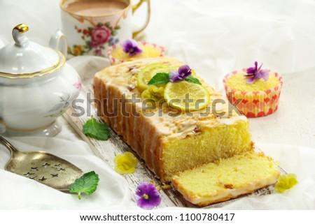 Homemade Moist Lemon Pound Cake or Loaf sliced, selective focus