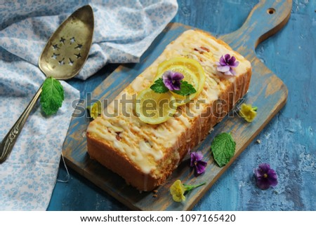 Homemade Moist Lemon Pound Cake or Loaf with copy space