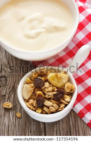 Homemade muesli with raisin and yogurt.
