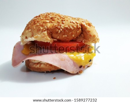 Homemade natural homemade hamburger on white background