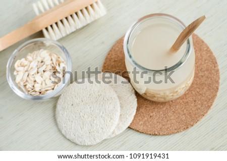Homemade oatmeal face cleanser. DIY oatmeal milk or toner for natural skin care.