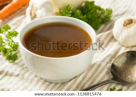 Homemade Organic Beef Bone Broth in a Bowl