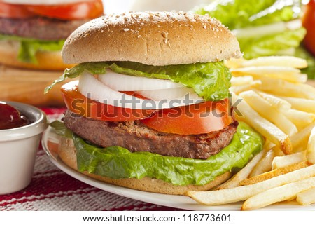 Homemade Organic Hamburger with Lettuce and Tomato