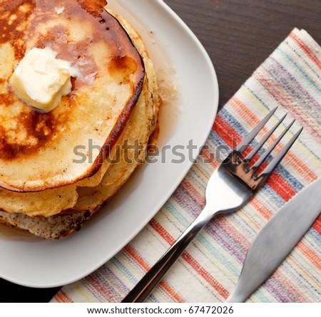 Homemade pancakes. Focused on pancake