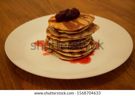 Homemade pancakes with homemade strawberry jam