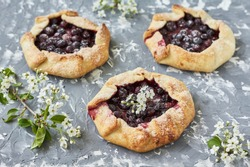 Homemade pie (galette) with black currant