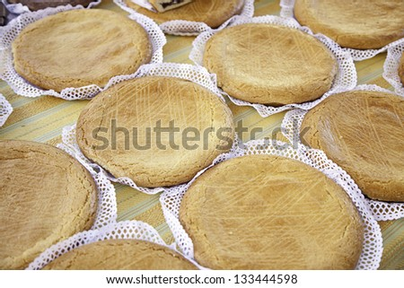 Homemade pies, apple cakes detail made by hand, selling in the market, health food, diet
