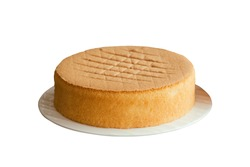 Homemade plain chiffon or sponge cake on white plate on white isolated background with clipping paths. Homemade bakery concept to present sponge cake so soft and lite good smell and delicious.