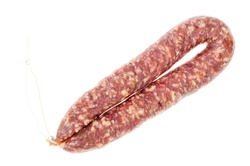 Homemade pork dried cured sausage on white background. Studio Photo